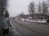 Słupy trakcji tramwajowej na ulicy Towarowej (22 stycznia 2015)