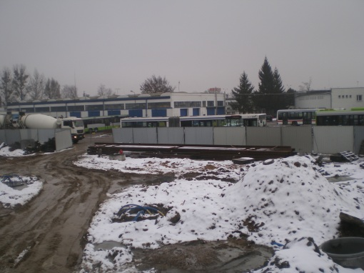 Budowa zajezdni tramwajowej przy ulicy Towarowej i Kołobrzeskiej (22 stycznia 2015)