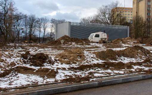 Budowa podstacji trakcyjnej przy ulicy Obiegowej (2 stycznia 2015)