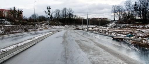 Budowa ulicy Obiegowej (2 stycznia 2015)