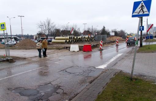 Budowa linii tramwajowej przy ulicy Lubelskiej (2 stycznia 2015)