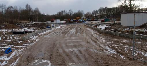 Budowa zajezdni autobusowej przy alei Sikorskiego (2 stycznia 2015)