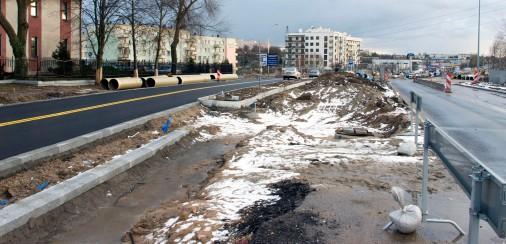 Budowa linii tramwajowej przy alei Sikorskiego (2 stycznia 2015)