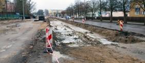 Budowa linii tramwajowej na ulicy Towarowej (2 stycznia 2015)