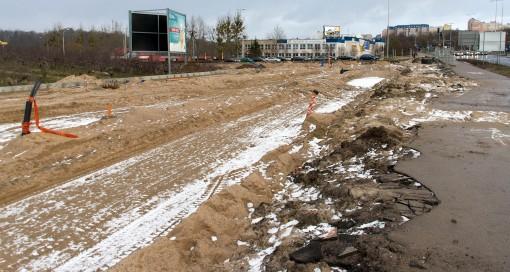 Budowa linii tramwajowej przy ulicy Tuwima (2 stycznia 2015)
