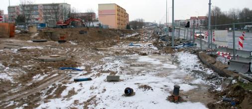 Budowa linii tramwajowej przy ulicy Witosa (2 stycznia 2015)