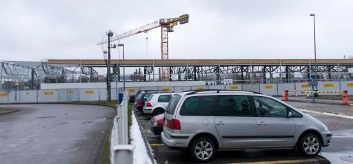 Budowa zajezdni tramwajowej przy ulicy Towarowej i Kołobrzeskiej (2 stycznia 2015)