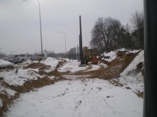 Budowa linii tramwajowej przy ulicy Obiegowej (4 lutego 2015)