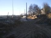 Budowa linii tramwajowej przy ulicy Obiegowej (16 lutego 2015)