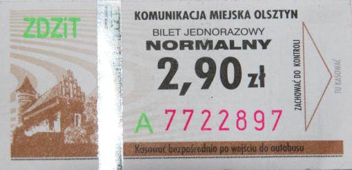 Bilet olsztyńskiej komunikacji miejskiej (2013)