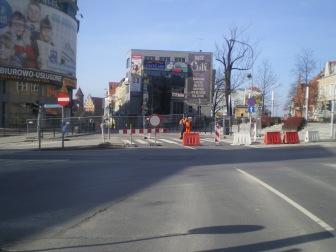 Budowa linii tramwajowej na placu Jana Pawła II (8 marca 2015)