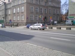 Skrzyżowanie ulic 1 Maja, Mrongowiusza i Ratuszowej (8 marca 2015)