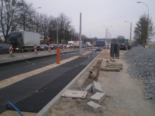Budowa linii tramwajowej w ulicy Towarowej (20 marca 2015)