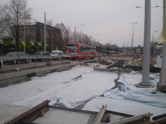 Budowa toru wjazdowego do zajezdni tramwajowej przy ulicy Towarowej (20 marca 2015)