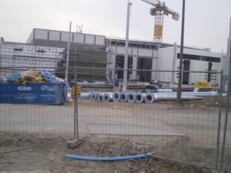 Budowa hali zajezdni tramwajowej przy ulicy Towarowej (20 marca 2015)