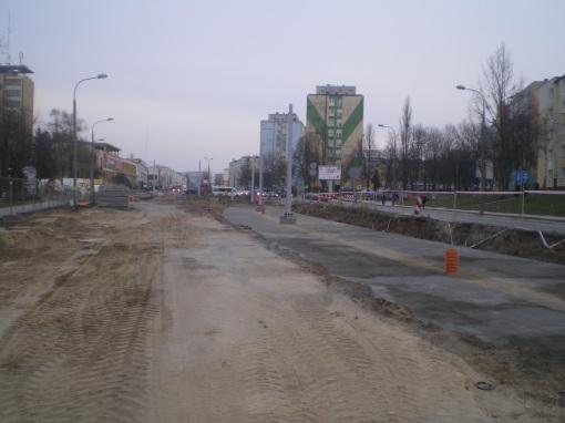 Budowa linii tramwajowej w ulicy Dworcowej (20 marca 2015)