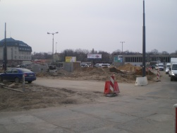 Budowa linii tramwajowej na placu Konstytucji 3 Maja (20 marca 2015)