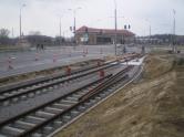 Budowa linii tramwajowej przy ulicy Tuwima (21 marca 2015) - mijanka przy osiedlu Mleczna