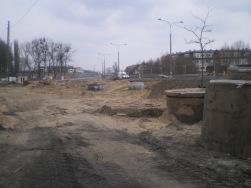 Budowa linii tramwajowej przy ulicy Tuwima (21 marca 2015)
