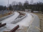 Budowa linii tramwajowej przy ulicy Tuwima (21 marca 2015) - przystanek końcowy przy skrzyżowaniu z aleją Warszawską i ulicą Prawocheńskiego