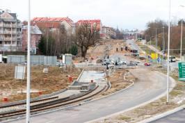 Budowa linii tramwajowej przy ulicy Płoskiego i alei Sikorskiego (4 kwietnia 2015)
