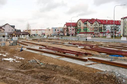 Budowa przystanku końcowego linii tramwajowej przy ulicy Witosa (4 kwietnia 2015)