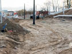 Budowa linii tramwajowej przy ulicy Obiegowej (3 kwietnia 2015)