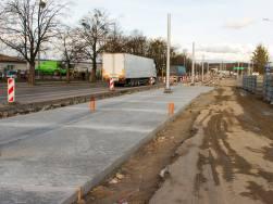 Budowa linii tramwajowej w ulicy Towarowej (3 kwietnia 2015)