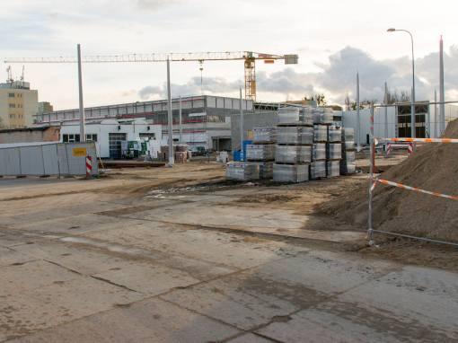 Budowa linii tramwajowej przy ulicy Towarowej (3 kwietnia 2015)