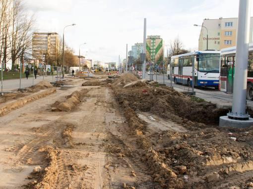 Budowa linii tramwajowej w ulicy Dworcowej (3 kwietnia 2015)