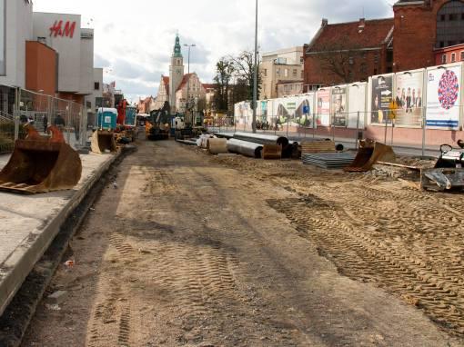 Budowa linii tramwajowej w alei Piłsudskiego (3 kwietnia 2015)