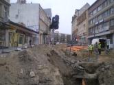 Budowa linii tramwajowej w ulicy 11 Listopada (14 kwietnia 2015)