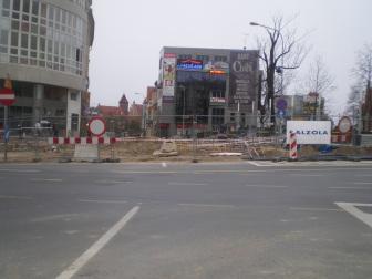 Budowa linii tramwajowej na placu Jana Pawła II (14 kwietnia 2015)
