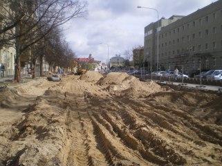 Budowa linii tramwajowej w ulicy Kościuszki (16 kwietnia 2015)