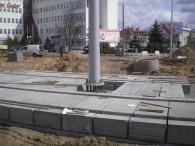 Budowa linii tramwajowej na placu Ofiar Katynia (16 kwietnia 2015)
