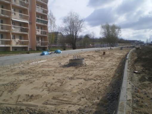 Budowa linii tramwajowej przy ulicy Witosa (17 kwietnia 2015)