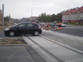 Budowa linii tramwajowej na skrzyżowaniu ulic Witosa, Janowicza i Laszki (28 kwietnia 2015)
