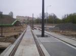 Budowa linii tramwajowej na skrzyżowaniu alei Sikorskiego z ulicami Pstrowskiego i Obiegową (28 kwietnia2015)