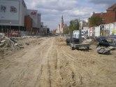 Budowa linii tramwajowej w alei Piłsudskiego (30 kwietnia 2015)