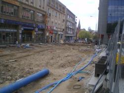 Budowa linii tramwajowej na placu Jana Pawła II (30 kwietnia 2015)