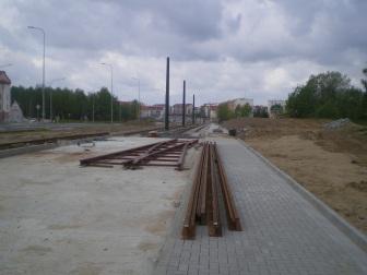 Budowa linii tramwajowej przy ulicy Witosa (10 maja 2015) - przystanek końcowy przy skrzyżowaniu z ulicą Kanta