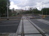 Budowa linii tramwajowej na skrzyżowaniu alei Sikorskiego z ulicami Pstrowskiego i Obiegową (10 maja 2015)