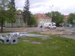 Budowa linii tramwajowej na skrzyżowaniu ulic Kościuszki i Żołnierskiej (10 maja 2015)