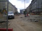 Budowa linii tramwajowej w ulicy Kościuszki (10 maja 2015) - skrzyżowanie z ulicą Kętrzyńskiego