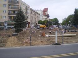 Budowa linii tramwajowej w alei Piłsudskiego (13 maja 2015)
