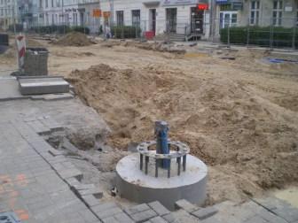 Budowa linii tramwajowej w ulicy Kościuszki (13 maja 2015)
