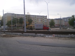 Budowa linii tramwajowej na placu Ofiar Katynia (13 maja 2015)