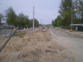 Budowa linii tramwajowej na ulicy Towarowej (13 maja 2015)