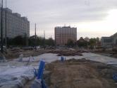 Budowa linii tramwajowej na placu Konstytucji 3 Maja (13 maja 2015) - miejsce przyszłych torów odstawczych