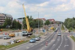 Budowa linii tramwajowej przy ulicy Płoskiego i alei Sikorskiego (1 czerwca 2015)